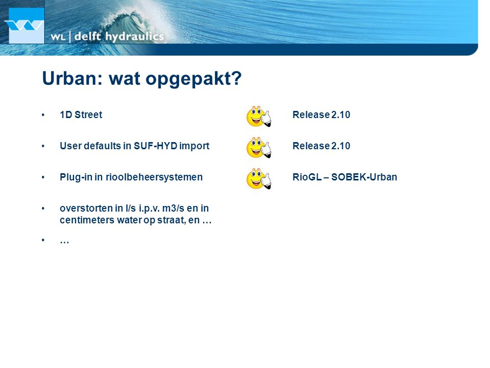 Urban: wat opgepakt? 1D Street Release 2.10 RioGL – SOBEK-Urban User defaults in SUF-HYD import Plug-in in rioolbeheersystemen overstorten in l/s i.p.