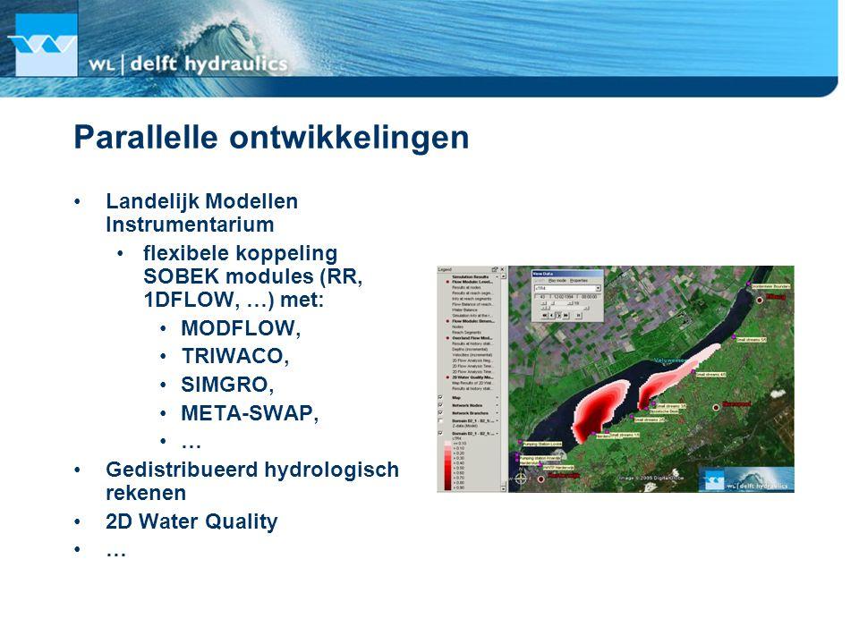 Parallelle ontwikkelingen Landelijk Modellen Instrumentarium flexibele koppeling SOBEK modules (RR, 1DFLOW, …) met: MODFLOW, TRIWACO, SIMGRO, META-SWA
