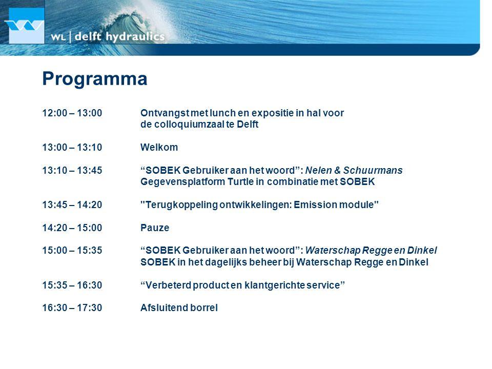 """Programma 12:00 – 13:00Ontvangst met lunch en expositie in hal voor de colloquiumzaal te Delft 13:00 – 13:10Welkom 13:10 – 13:45""""SOBEK Gebruiker aan h"""