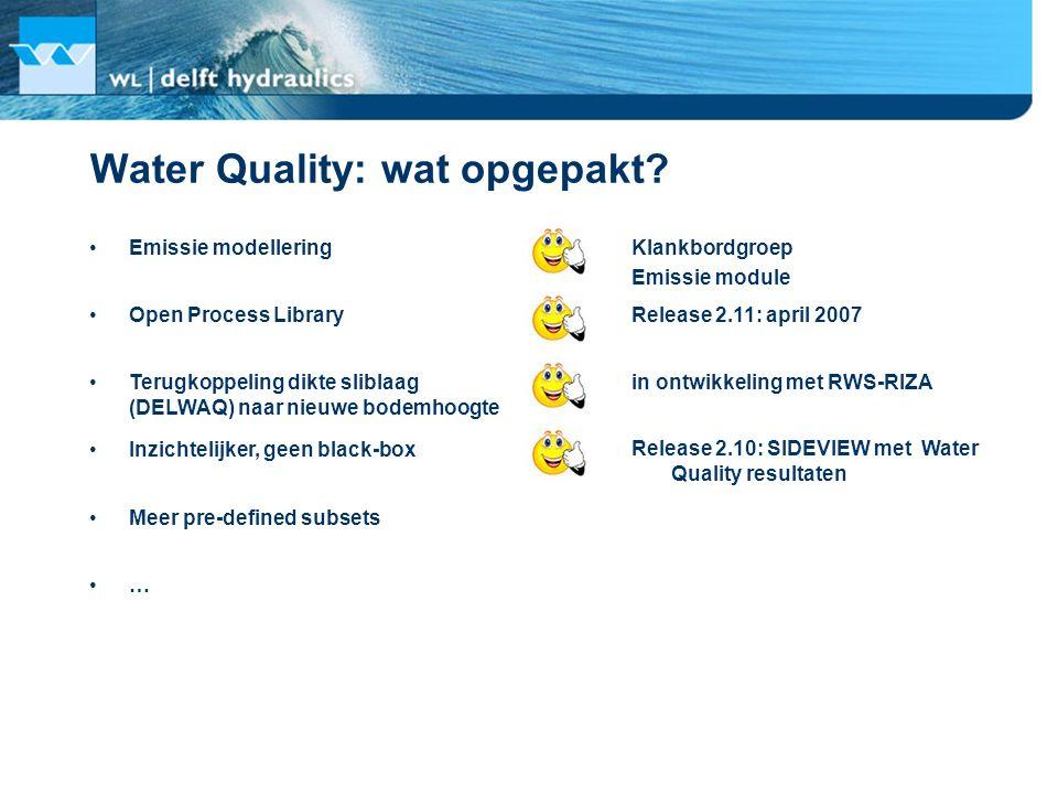 Water Quality: wat opgepakt? Emissie modellering Klankbordgroep Emissie module Release 2.11: april 2007 in ontwikkeling met RWS-RIZA Open Process Libr