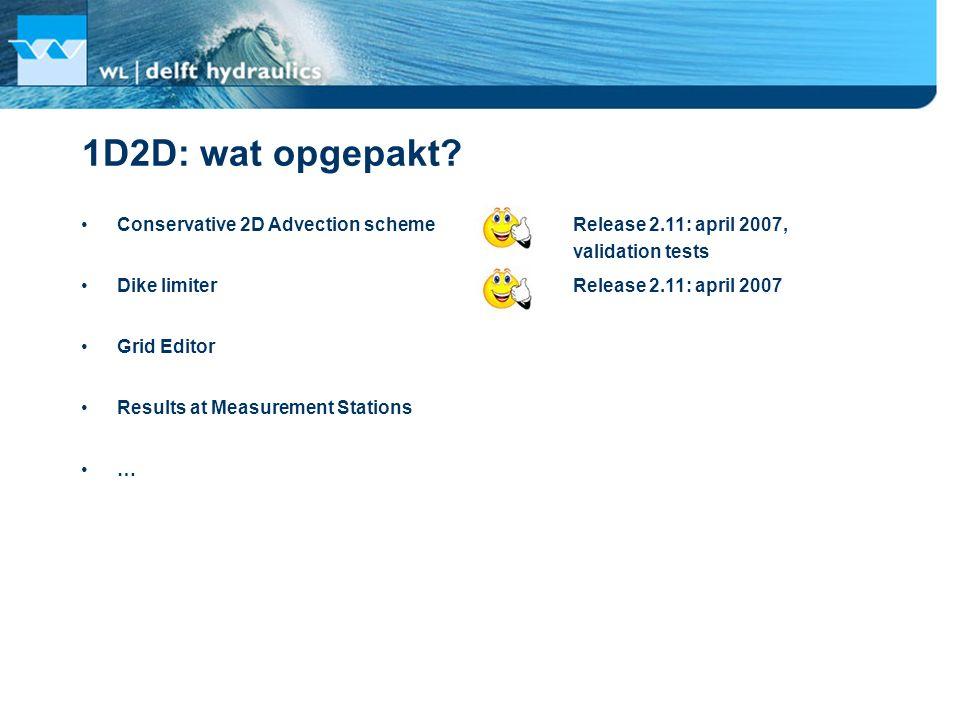 1D2D: wat opgepakt? Conservative 2D Advection scheme Release 2.11: april 2007, validation tests Dike limiter Grid Editor Results at Measurement Statio