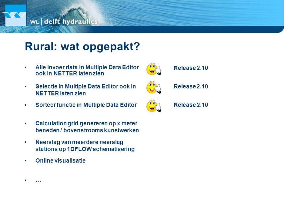 Rural: wat opgepakt? Alle invoer data in Multiple Data Editor ook in NETTER laten zien Release 2.10 Selectie in Multiple Data Editor ook in NETTER lat