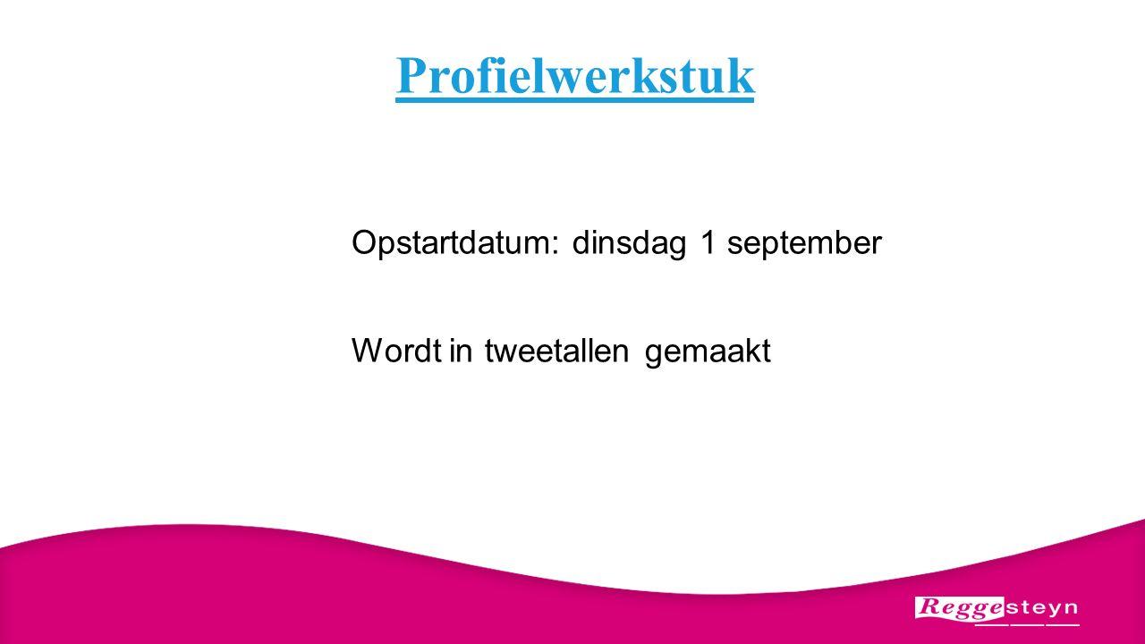 Profielwerkstuk Opstartdatum: dinsdag 1 september Wordt in tweetallen gemaakt