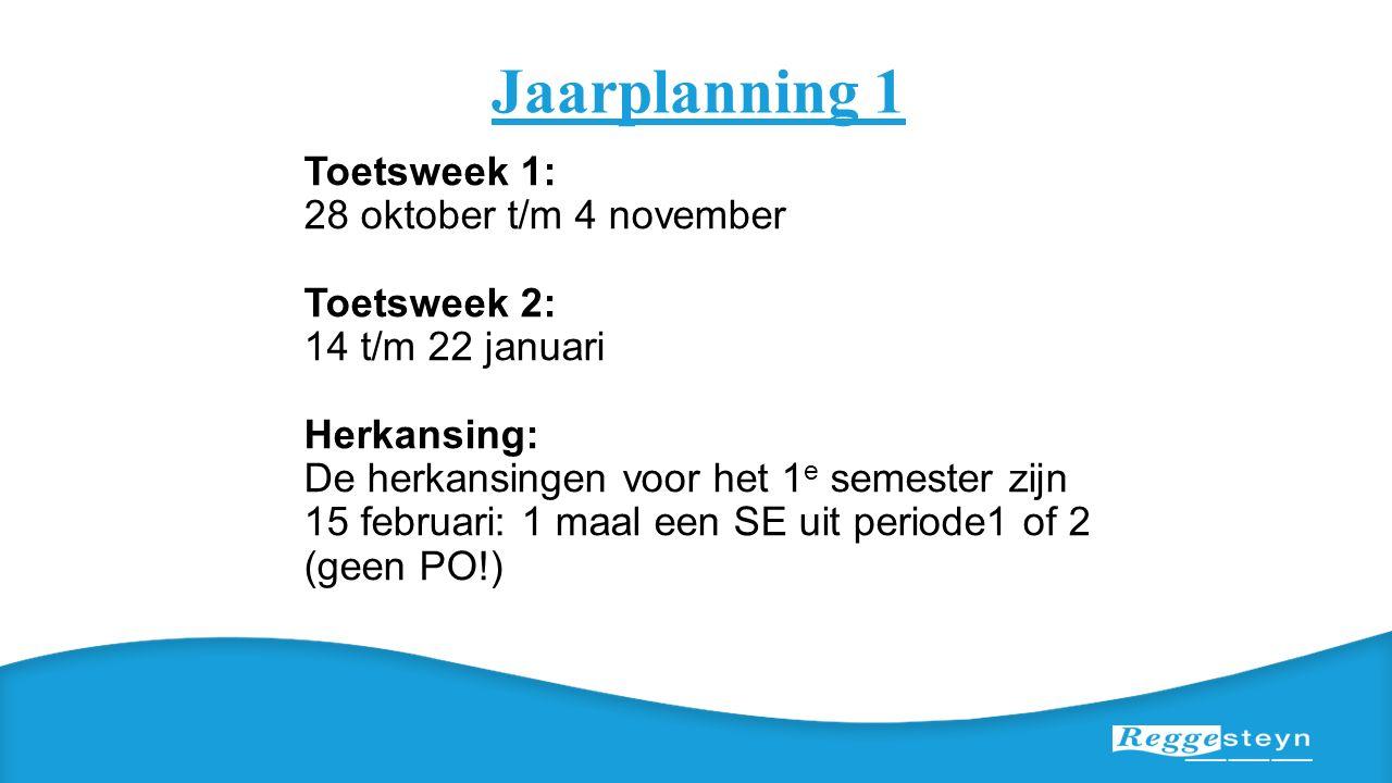 Jaarplanning 1 Toetsweek 1: 28 oktober t/m 4 november Toetsweek 2: 14 t/m 22 januari Herkansing: De herkansingen voor het 1 e semester zijn 15 februar