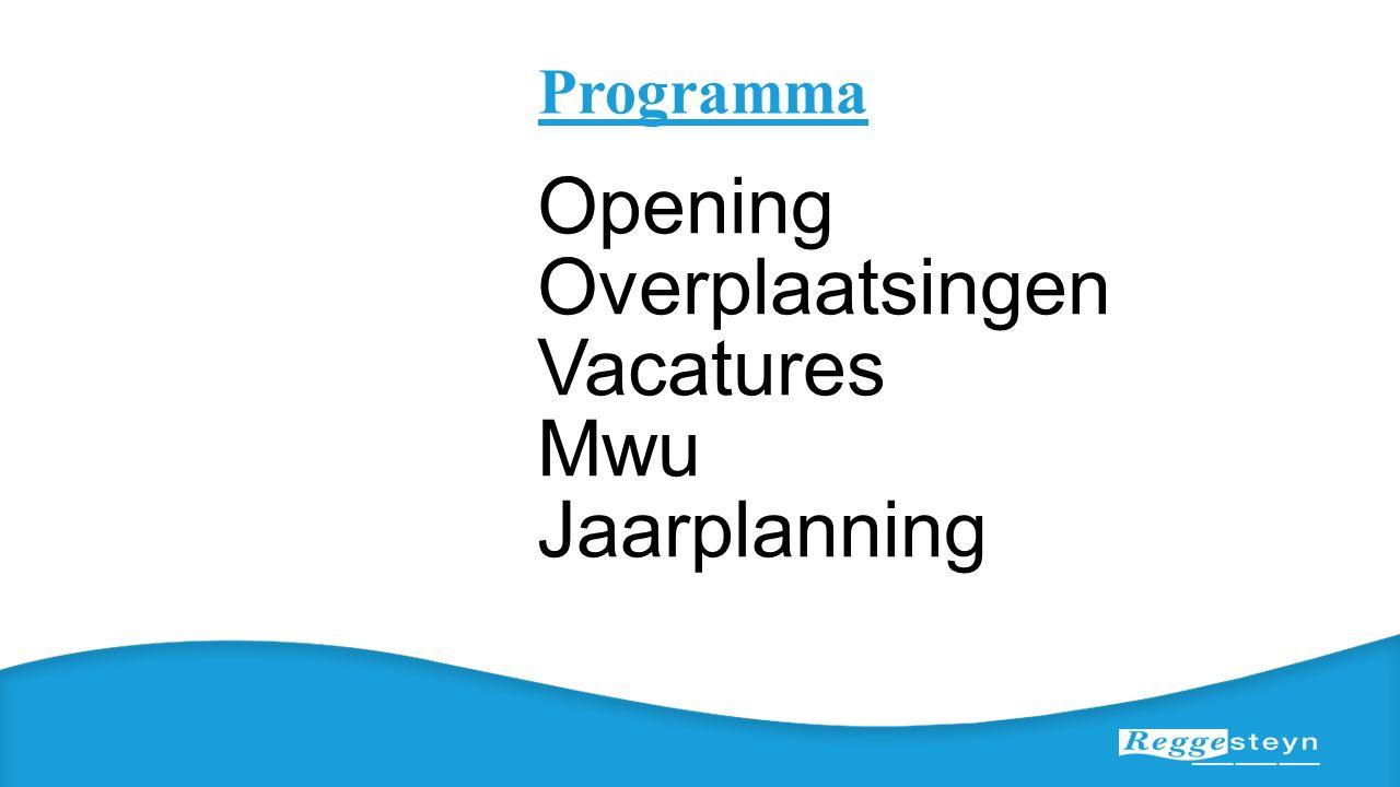 Programma Opening Overplaatsingen Vacatures Mwu Jaarplanning
