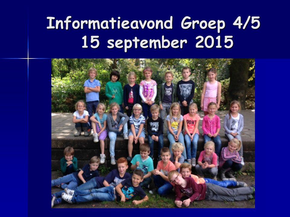 Informatieavond Groep 4/5 15 september 2015