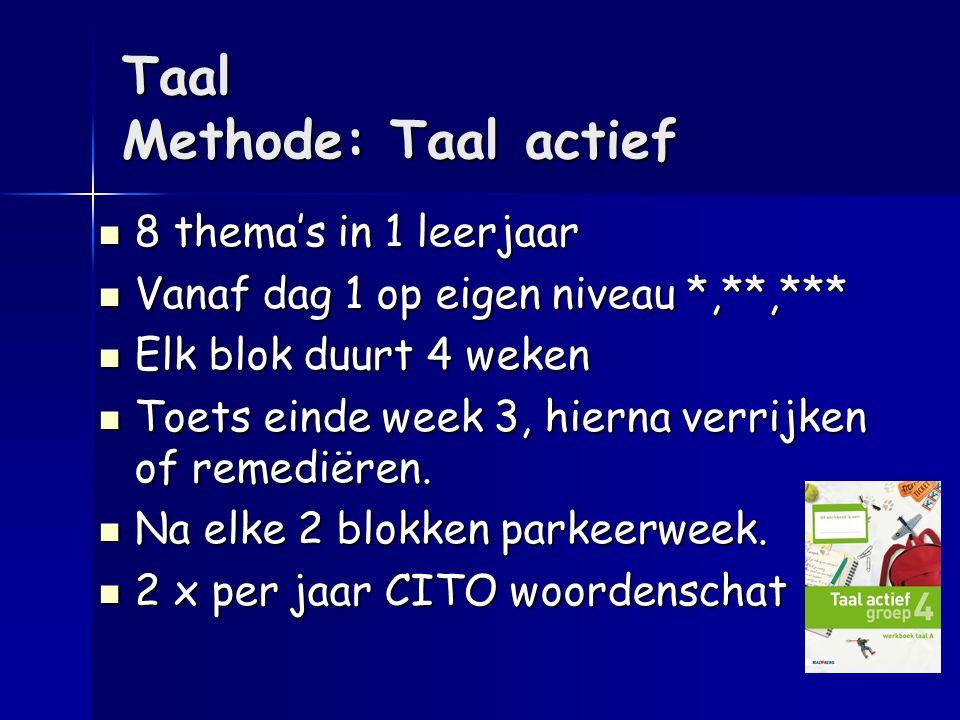 Taal Methode: Taal actief 8 thema's in 1 leerjaar 8 thema's in 1 leerjaar Vanaf dag 1 op eigen niveau *,**,*** Vanaf dag 1 op eigen niveau *,**,*** El