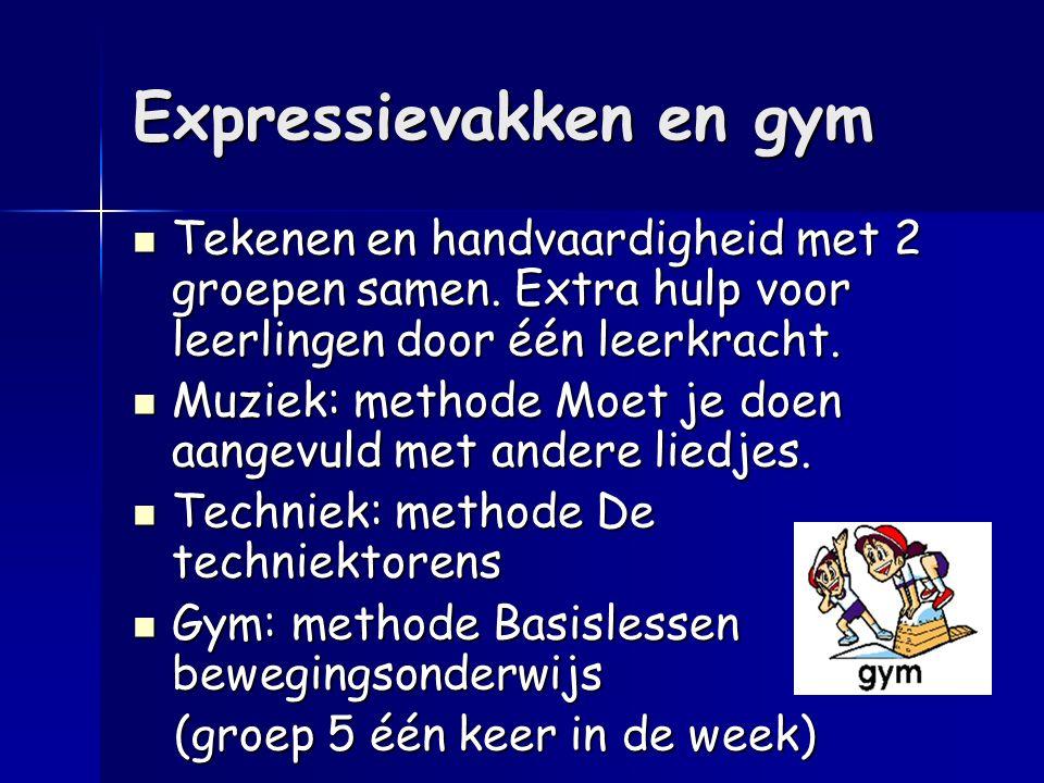 Expressievakken en gym Tekenen en handvaardigheid met 2 groepen samen. Extra hulp voor leerlingen door één leerkracht. Tekenen en handvaardigheid met