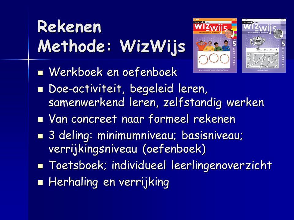 Rekenen Methode: WizWijs Werkboek en oefenboek Werkboek en oefenboek Doe-activiteit, begeleid leren, samenwerkend leren, zelfstandig werken Doe-activi