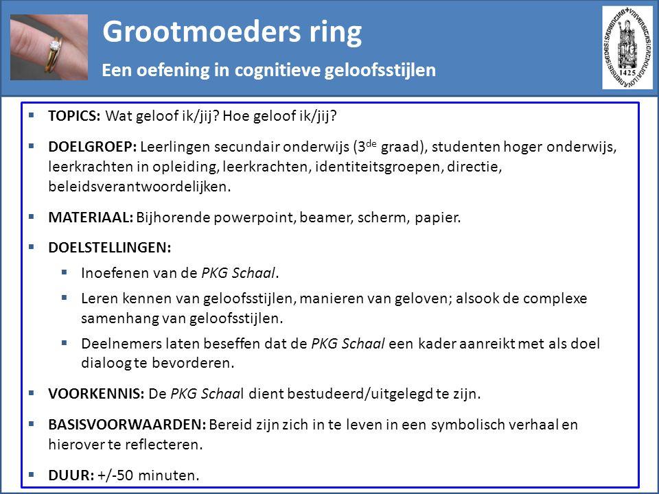 Grootmoeders ring Stappenplan  Vooraf: De samenvatting van de PKG Schaal bekijken als opfrisser.
