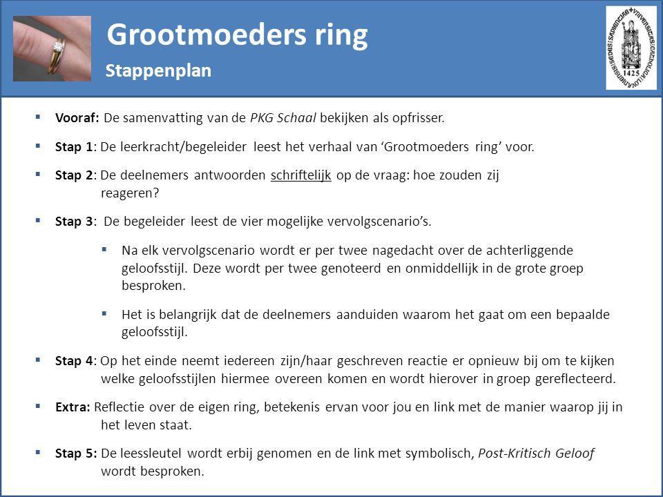 Grootmoeders ring Stappenplan  Vooraf: De samenvatting van de PKG Schaal bekijken als opfrisser.  Stap 1: De leerkracht/begeleider leest het verhaal