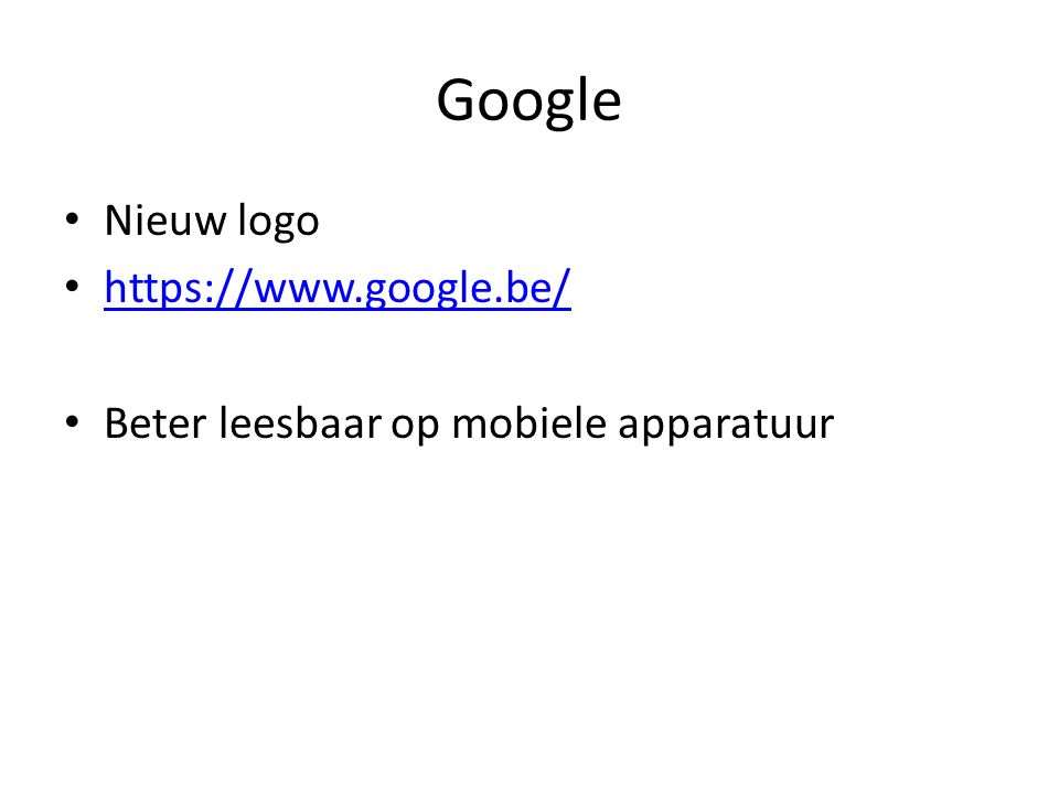 Google Nieuw logo https://www.google.be/ Beter leesbaar op mobiele apparatuur
