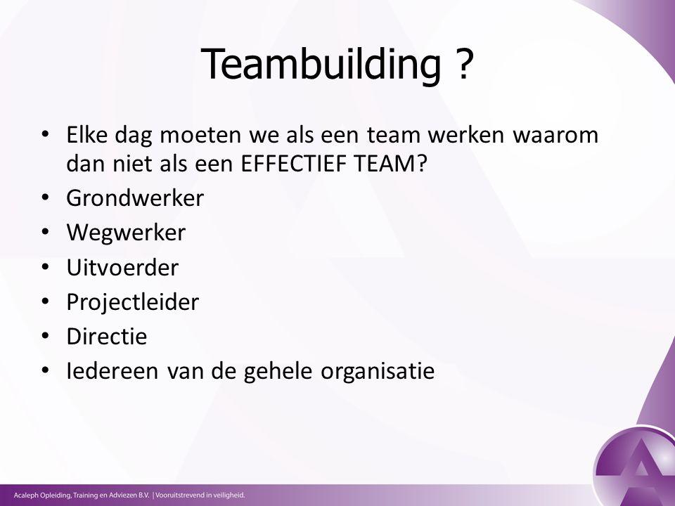 Teambuilding . Elke dag moeten we als een team werken waarom dan niet als een EFFECTIEF TEAM.