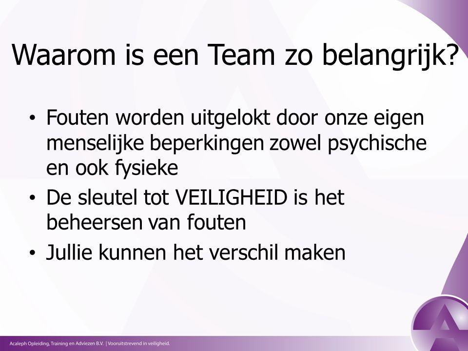 Waarom is een Team zo belangrijk.