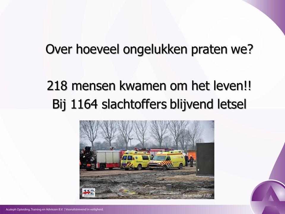 Over hoeveel ongelukken praten we. 218 mensen kwamen om het leven!.