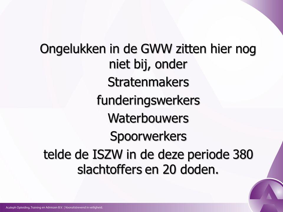 Ongelukken in de GWW zitten hier nog niet bij, onder StratenmakersfunderingswerkersWaterbouwersSpoorwerkers telde de ISZW in de deze periode 380 slachtoffers en 20 doden.