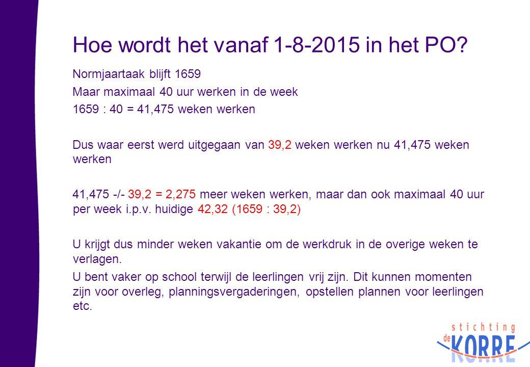 Hoe wordt het vanaf 1-8-2015 in het PO? Normjaartaak blijft 1659 Maar maximaal 40 uur werken in de week 1659 : 40 = 41,475 weken werken Dus waar eerst