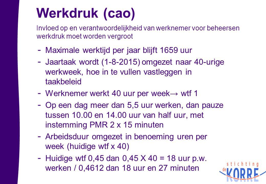 Werkdruk (cao) Invloed op en verantwoordelijkheid van werknemer voor beheersen werkdruk moet worden vergroot - Maximale werktijd per jaar blijft 1659