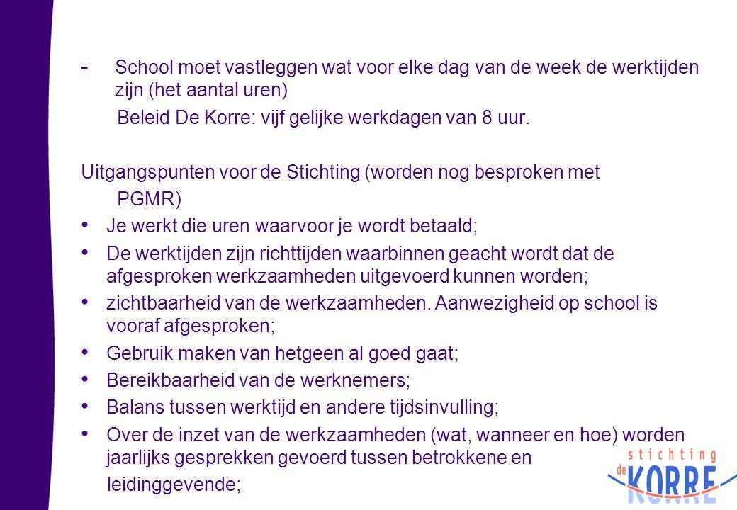 - School moet vastleggen wat voor elke dag van de week de werktijden zijn (het aantal uren) Beleid De Korre: vijf gelijke werkdagen van 8 uur. Uitgang