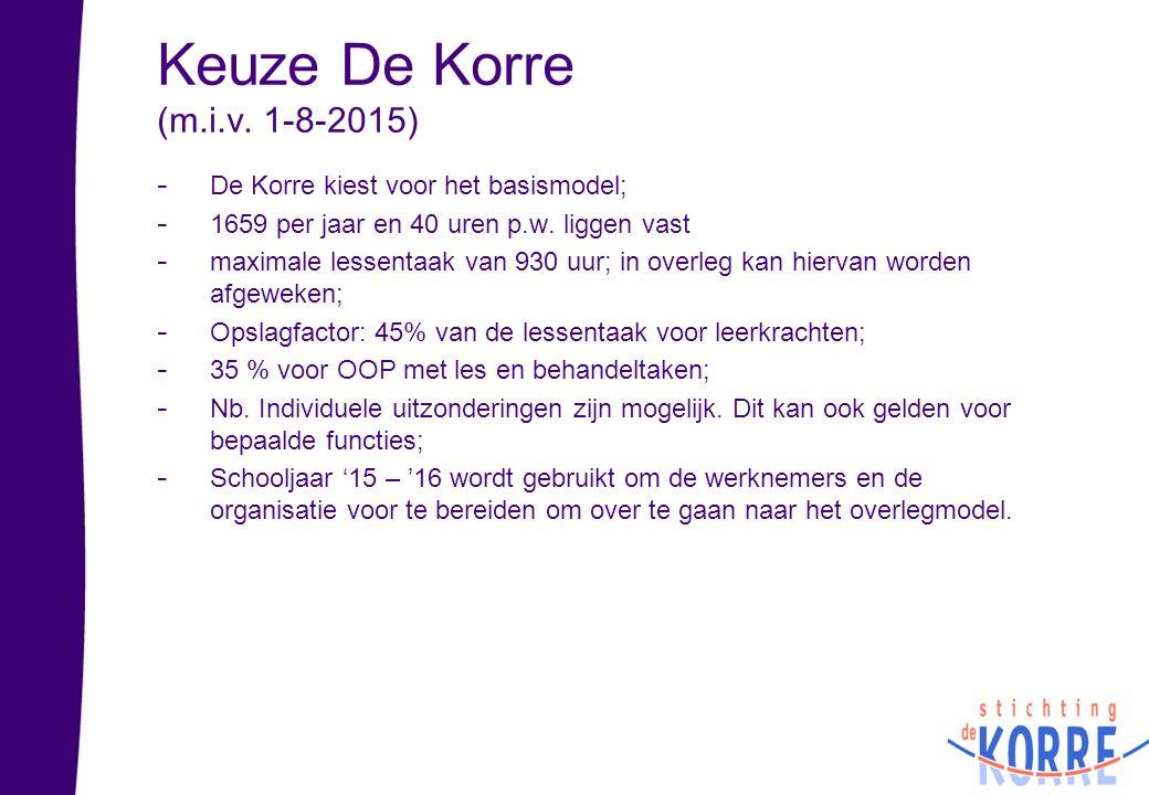 Keuze De Korre (m.i.v. 1-8-2015) - De Korre kiest voor het basismodel; - 1659 per jaar en 40 uren p.w. liggen vast - maximale lessentaak van 930 uur;