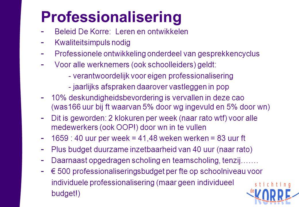 Professionalisering - Beleid De Korre: Leren en ontwikkelen - Kwaliteitsimpuls nodig - Professionele ontwikkeling onderdeel van gesprekkencyclus - Voo