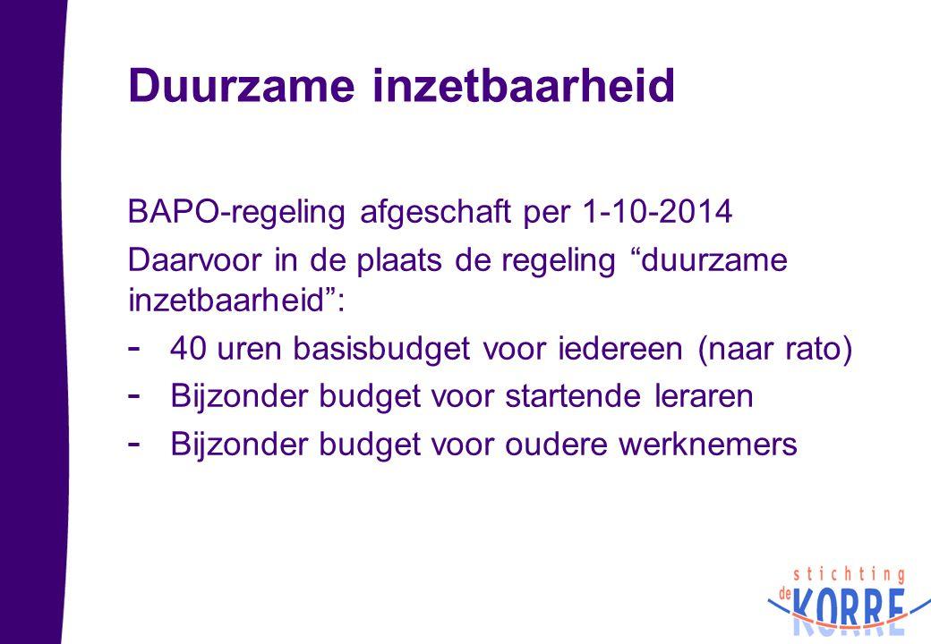 """Duurzame inzetbaarheid BAPO-regeling afgeschaft per 1-10-2014 Daarvoor in de plaats de regeling """"duurzame inzetbaarheid"""": - 40 uren basisbudget voor i"""