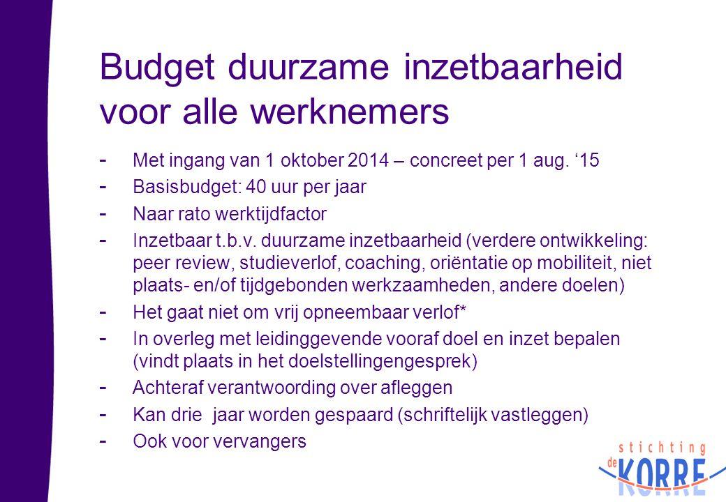 Budget duurzame inzetbaarheid voor alle werknemers - Met ingang van 1 oktober 2014 – concreet per 1 aug. '15 - Basisbudget: 40 uur per jaar - Naar rat