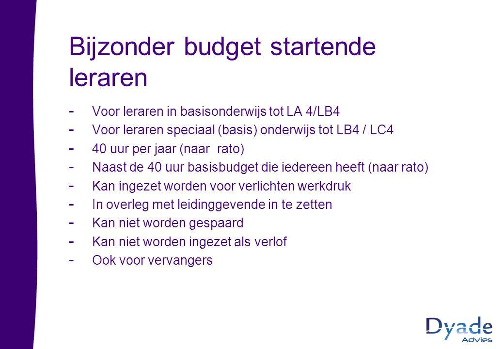 Bijzonder budget startende leraren - Voor leraren in basisonderwijs tot LA 4/LB4 - Voor leraren speciaal (basis) onderwijs tot LB4 / LC4 - 40 uur per