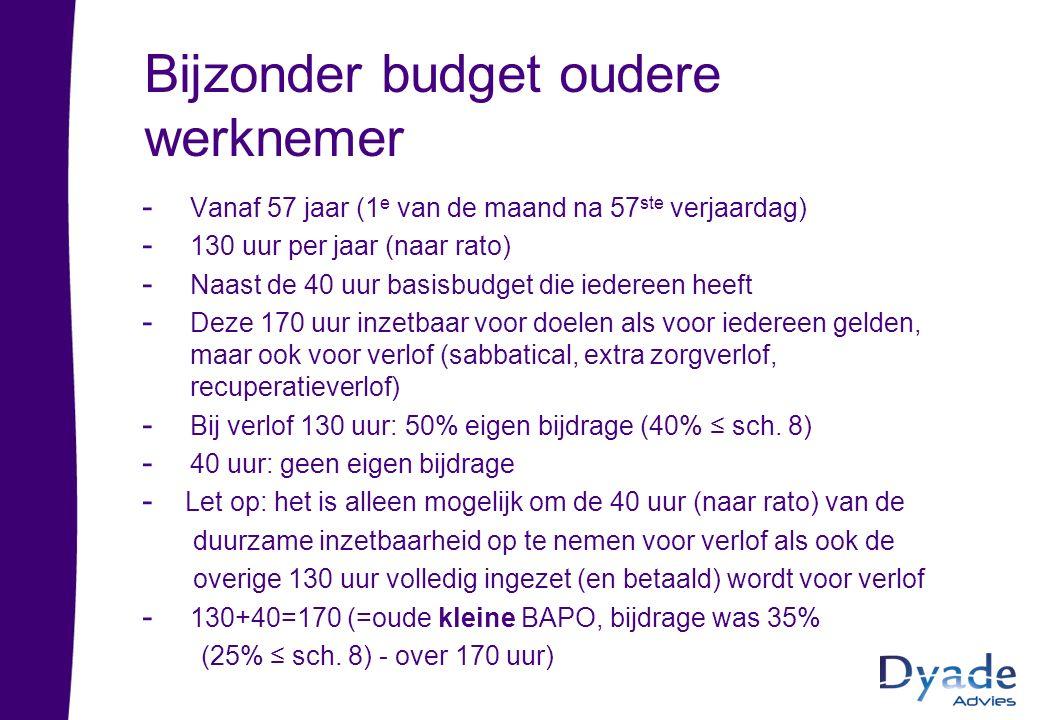 Bijzonder budget oudere werknemer - Vanaf 57 jaar (1 e van de maand na 57 ste verjaardag) - 130 uur per jaar (naar rato) - Naast de 40 uur basisbudget