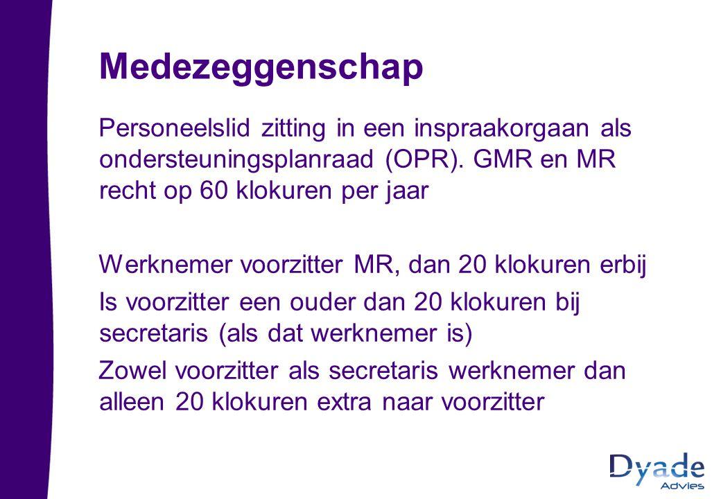 Medezeggenschap Personeelslid zitting in een inspraakorgaan als ondersteuningsplanraad (OPR). GMR en MR recht op 60 klokuren per jaar Werknemer voorzi