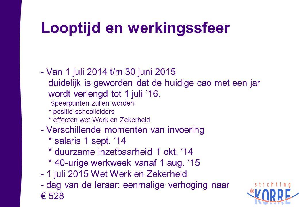 Looptijd en werkingssfeer - Van 1 juli 2014 t/m 30 juni 2015 duidelijk is geworden dat de huidige cao met een jar wordt verlengd tot 1 juli '16. Speer