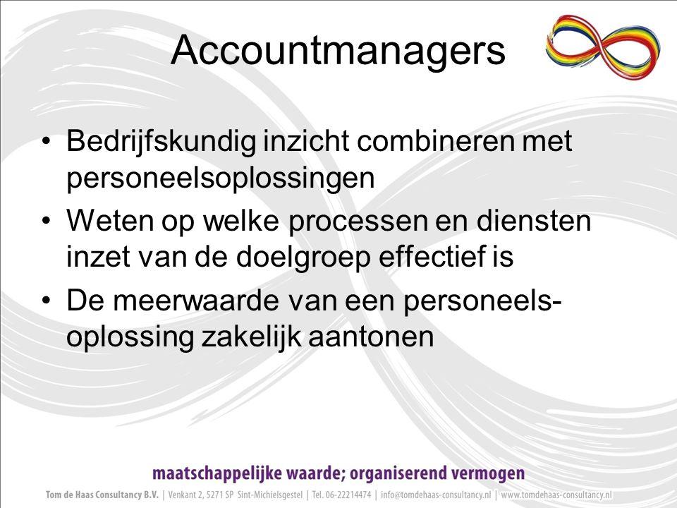 Accountmanagers Bedrijfskundig inzicht combineren met personeelsoplossingen Weten op welke processen en diensten inzet van de doelgroep effectief is De meerwaarde van een personeels- oplossing zakelijk aantonen