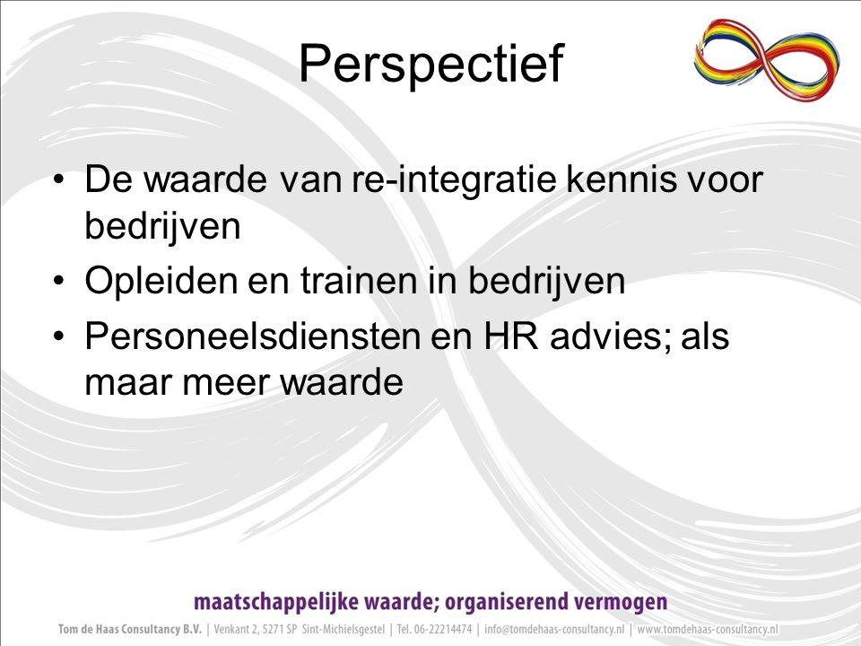 Perspectief De waarde van re-integratie kennis voor bedrijven Opleiden en trainen in bedrijven Personeelsdiensten en HR advies; als maar meer waarde