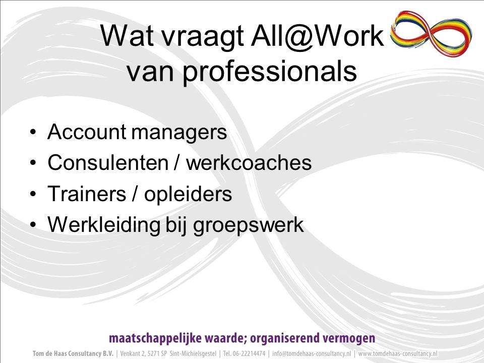 Wat vraagt All@Work van professionals Account managers Consulenten / werkcoaches Trainers / opleiders Werkleiding bij groepswerk