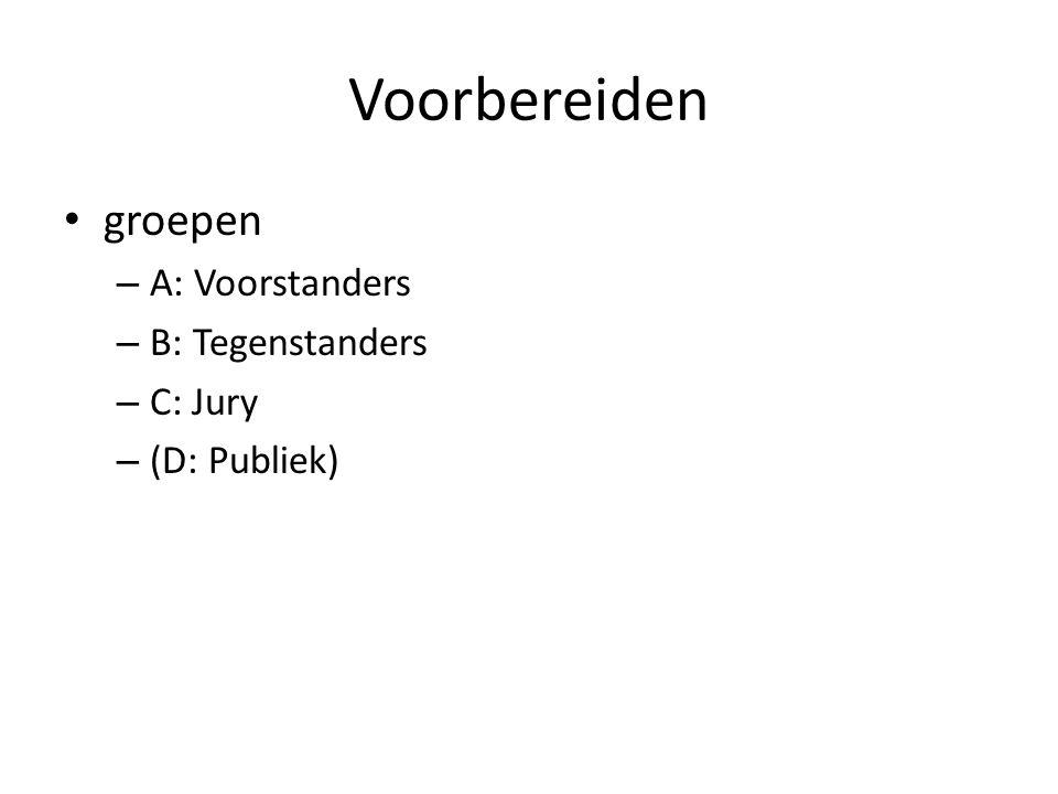 Voorbereiden groepen – A: Voorstanders – B: Tegenstanders – C: Jury – (D: Publiek)