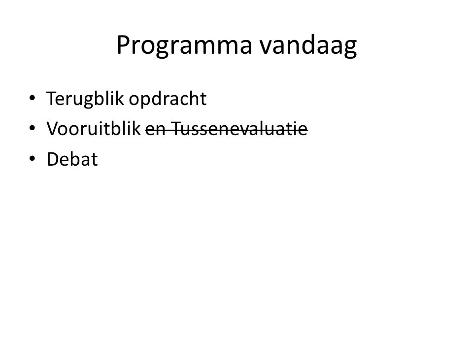 Programma vandaag Terugblik opdracht Vooruitblik en Tussenevaluatie Debat
