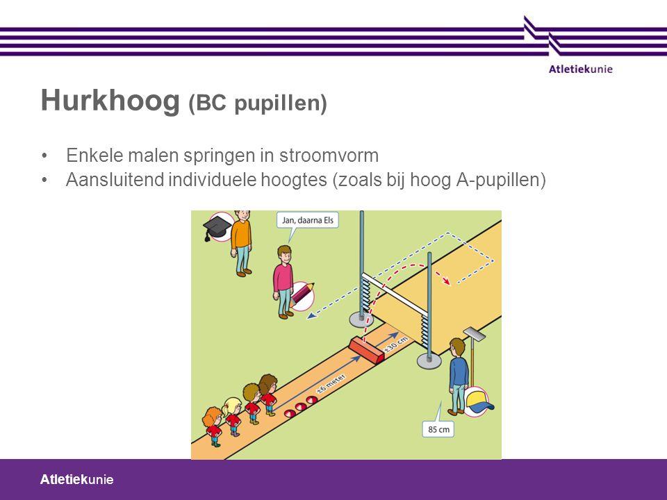 Atletiekunie Hurkhoog (BC pupillen) Enkele malen springen in stroomvorm Aansluitend individuele hoogtes (zoals bij hoog A-pupillen)