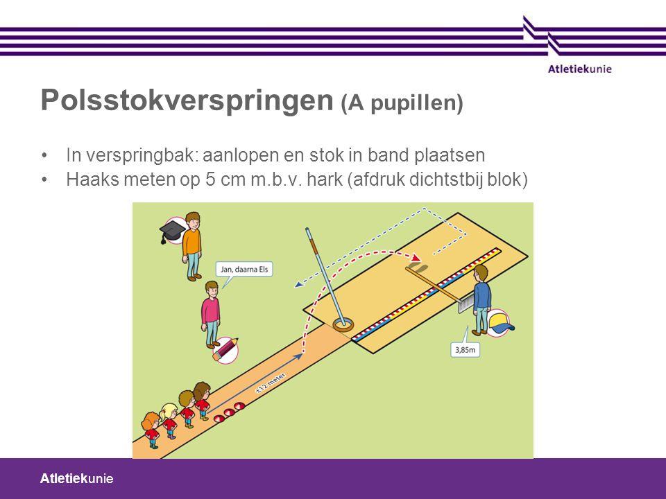 Atletiekunie Polsstokverspringen (A pupillen) In verspringbak: aanlopen en stok in band plaatsen Haaks meten op 5 cm m.b.v.