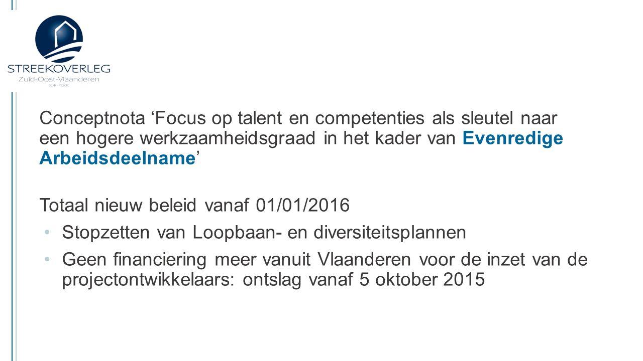 Conceptnota 'Focus op talent en competenties als sleutel naar een hogere werkzaamheidsgraad in het kader van Evenredige Arbeidsdeelname' Vragen Er zal een beperkte overgangsfase voorzien worden – welke.
