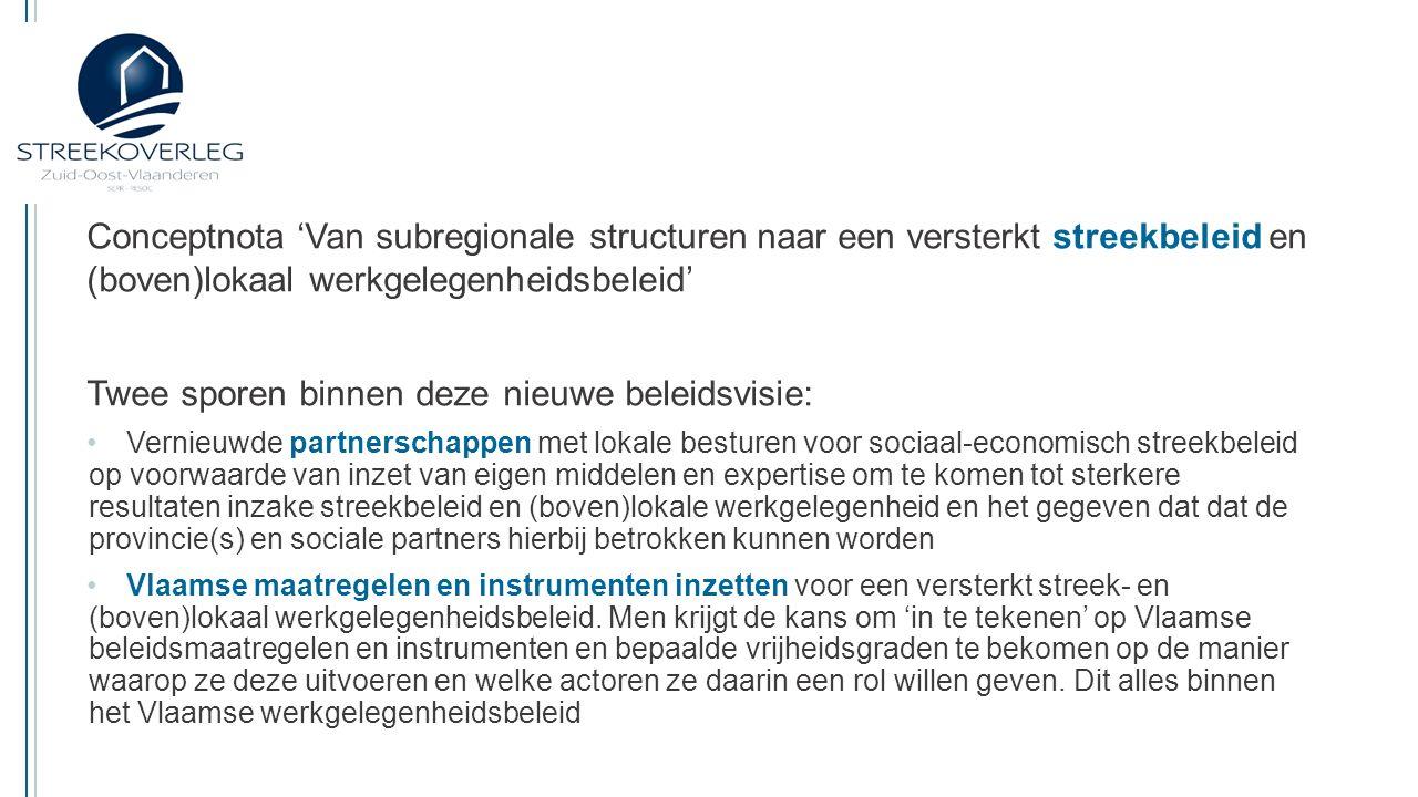 Conceptnota 'Van subregionale structuren naar een versterkt streekbeleid en (boven)lokaal werkgelegenheidsbeleid' Vragen: Juiste timing en procedure van het traject naar een vernieuwd streekbeleid.