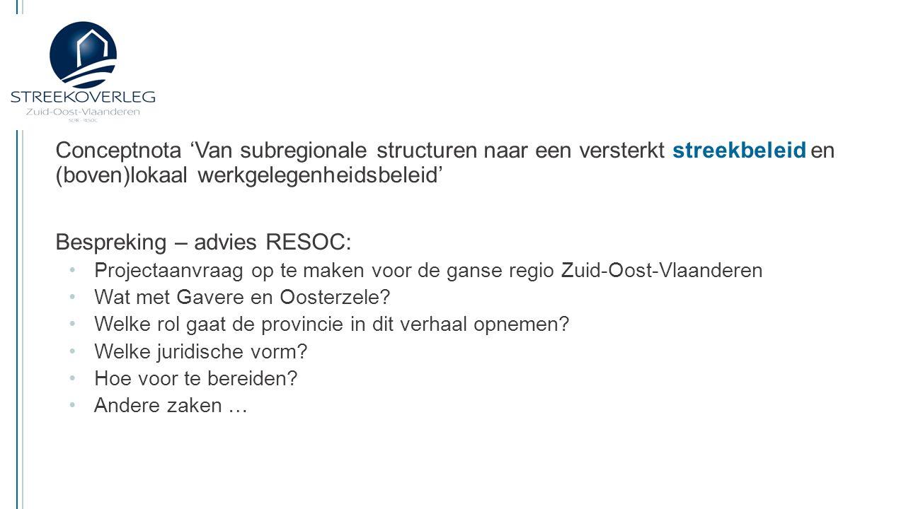 Streekoverleg Zuid-Oost-Vlaanderen SERR-RESOC Keizersplein 42   9300 Aalst   053 60 77 00 info@streekoverlegzov.be   www.streekoverlegzov.be