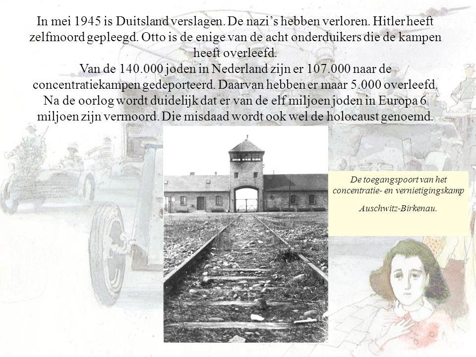 In mei 1945 is Duitsland verslagen. De nazi's hebben verloren. Hitler heeft zelfmoord gepleegd. Otto is de enige van de acht onderduikers die de kampe
