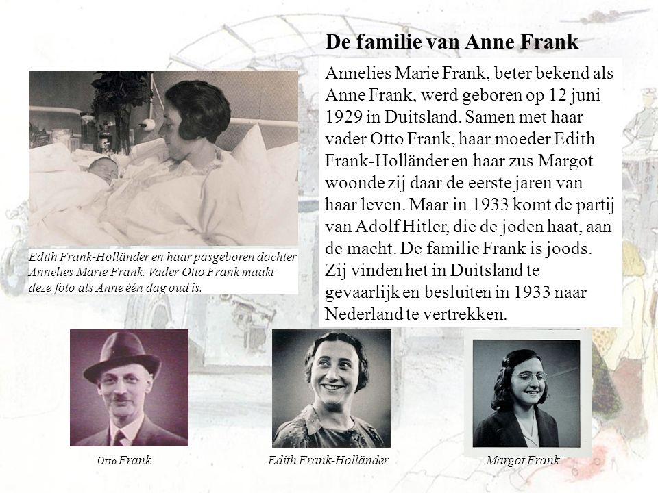 Annelies Marie Frank, beter bekend als Anne Frank, werd geboren op 12 juni 1929 in Duitsland. Samen met haar vader Otto Frank, haar moeder Edith Frank