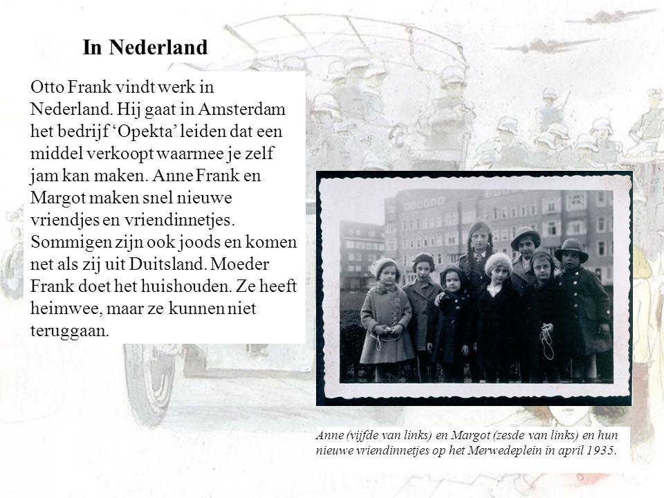 In Nederland Otto Frank vindt werk in Nederland. Hij gaat in Amsterdam het bedrijf 'Opekta' leiden dat een middel verkoopt waarmee je zelf jam kan mak