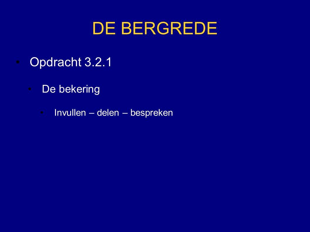 DE BERGREDE Opdracht 3.2.1 De bekering Invullen – delen – bespreken