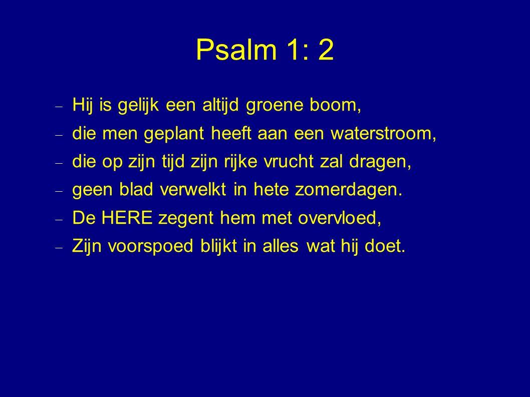 Psalm 1: 2  Hij is gelijk een altijd groene boom,  die men geplant heeft aan een waterstroom,  die op zijn tijd zijn rijke vrucht zal dragen,  geen blad verwelkt in hete zomerdagen.
