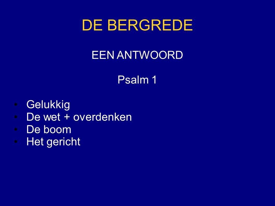 DE BERGREDE EEN ANTWOORD Psalm 1 Gelukkig De wet + overdenken De boom Het gericht