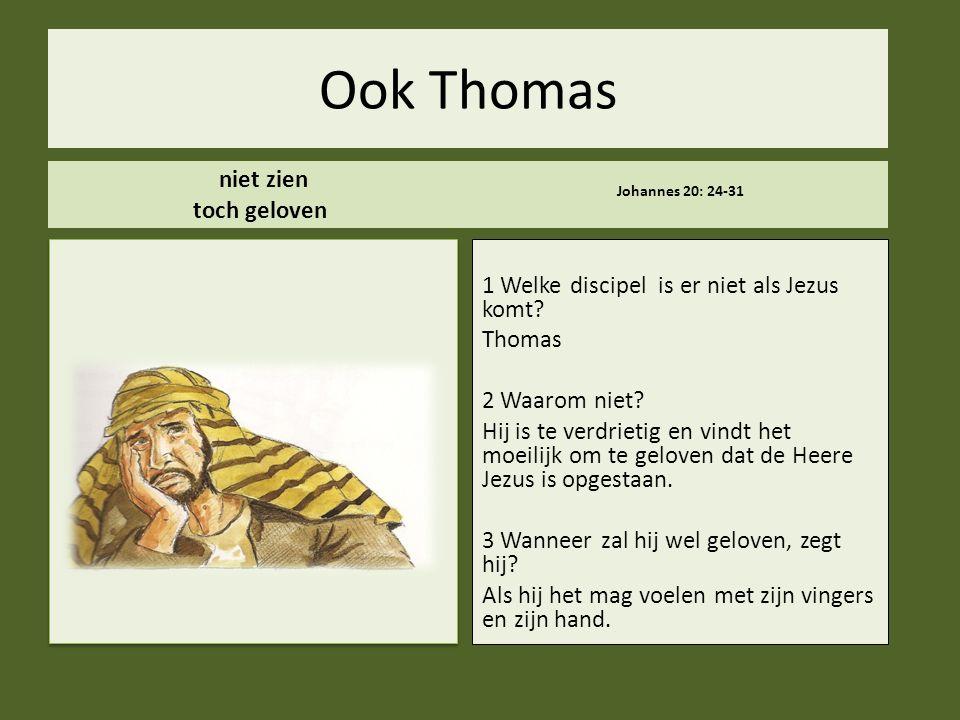 Ook Thomas niet zien toch geloven Johannes 20: 24-31 1 Welke discipel is er niet als Jezus komt? Thomas 2 Waarom niet? Hij is te verdrietig en vindt h