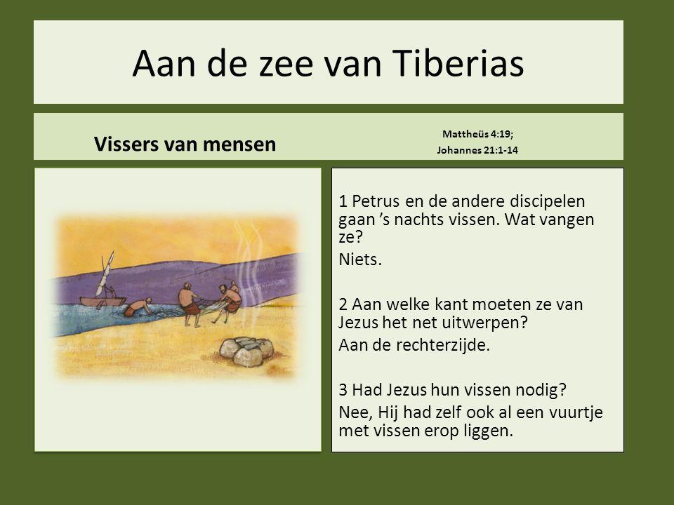 Aan de zee van Tiberias Vissers van mensen Mattheüs 4:19; Johannes 21:1-14 1 Petrus en de andere discipelen gaan 's nachts vissen. Wat vangen ze? Niet