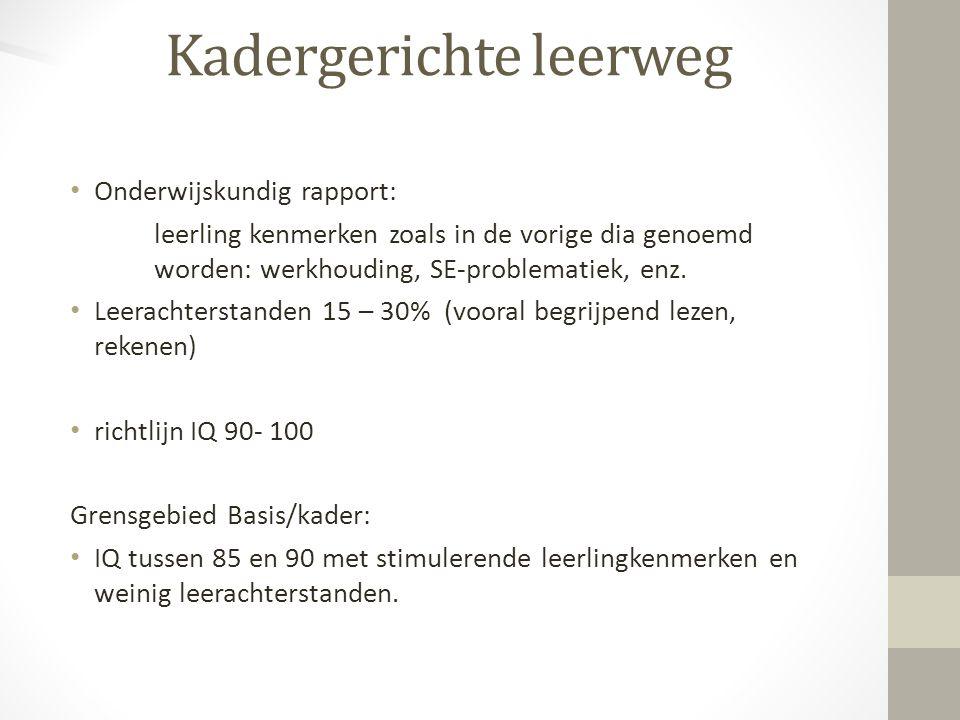Onderwijskundig rapport: leerling kenmerken zoals in de vorige dia genoemd worden: werkhouding, SE-problematiek, enz. Leerachterstanden 15 – 30% (voor